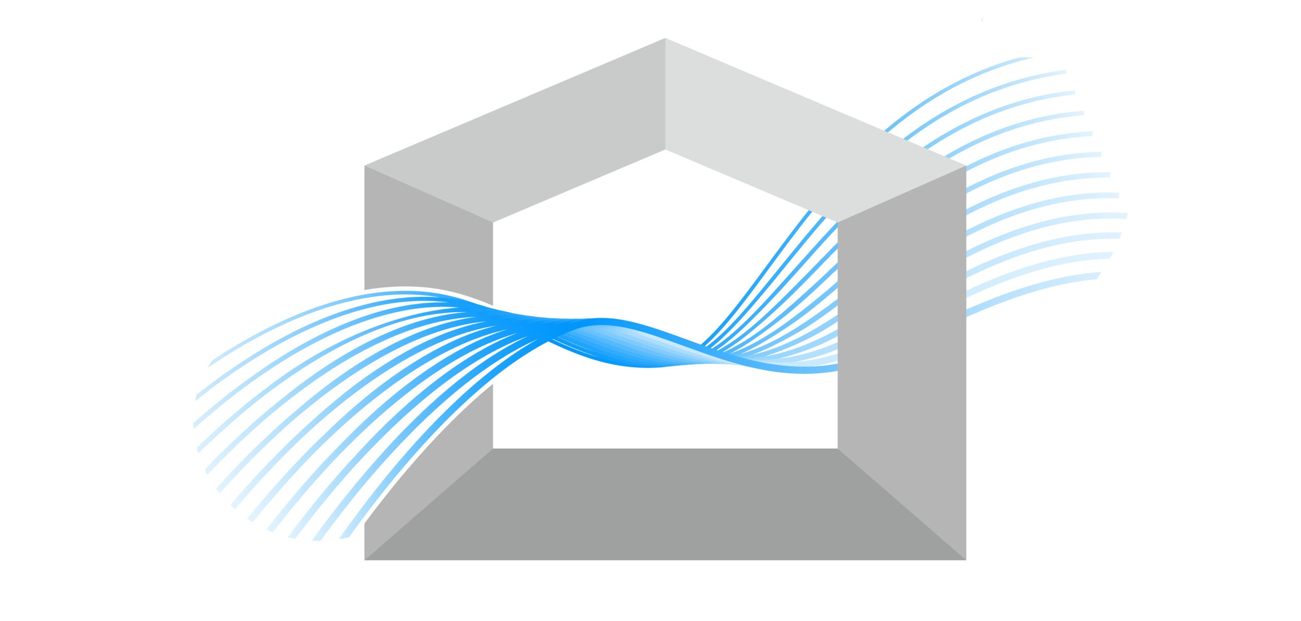 Ventilation,Illustrations,,Streamlined,Blue,Gradient,Winds,,Simple,House,Silhouettes